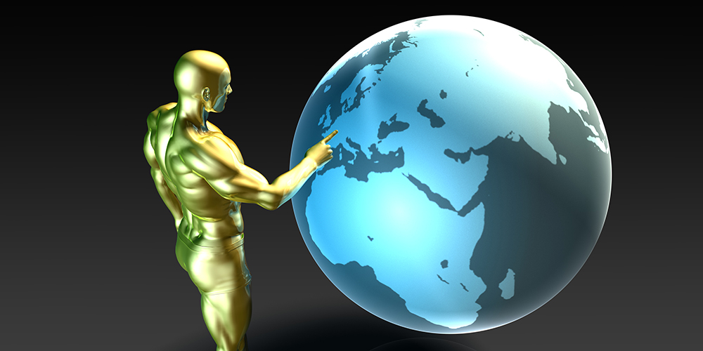 פסל מוזהב נוגע בעולם